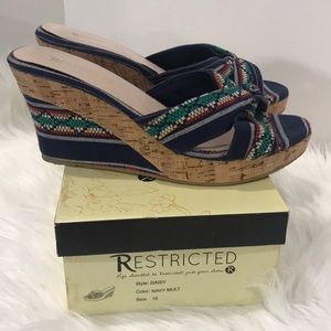 Restricted Multicolor Wedge Sandals EUC
